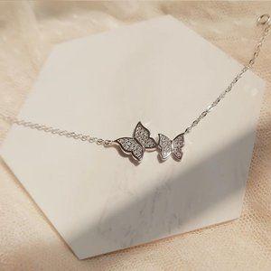 Jewelry - NEW 925 Sterling Silver Diamond Butterfly Bracelet